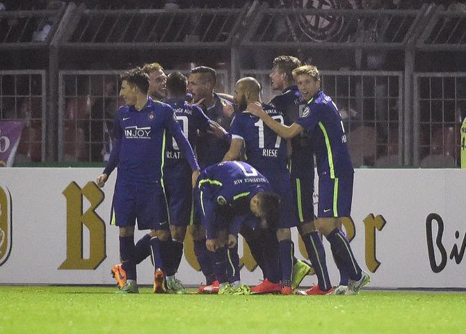 Aue im Halbfinale gegen Frankfurt (Foto Huebner)