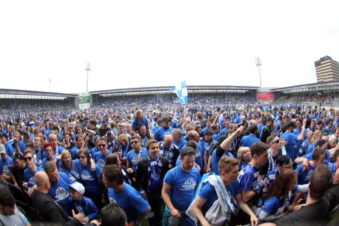 Vor einem Jahr feierte MSV Duisburg noch den Aufstieg in die 2. Bundesliga Foto: Foto Huebner