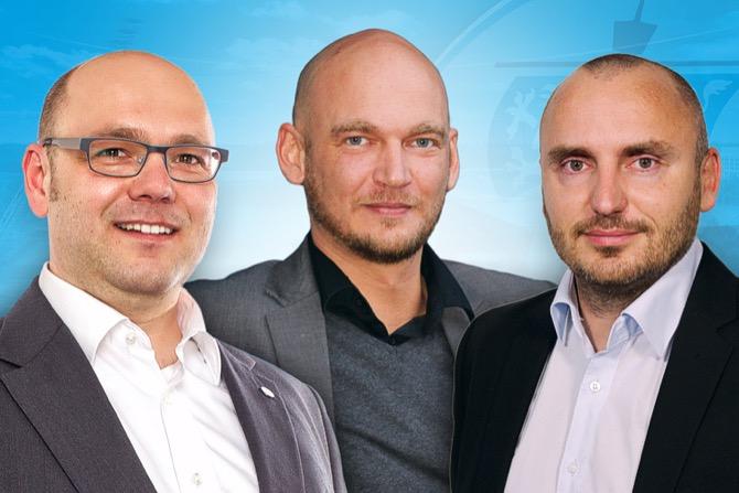 (v.l.n.r.): Der neue Vorstand des F.C. Hansa Rostock: Christian Hüneburg, Markus Kompp und Robert Marien (Foto: F.C. Hansa Rostock)